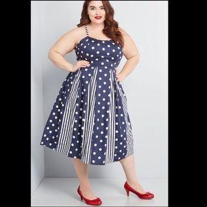 🆕ModCloth- Navy Polka Dot with Stripes Dress